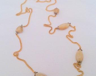 Vintage Long Gold Tone Faux Agate Station Chain Necklace