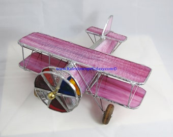 Stained Glass Airplane Kaleidoscope ~ Bi-Plane Wispy Textured Pink Kaleidoscope ~ Handmade USA ~ Pilots ~ Unique Gifts ~ Fun Beautiful View