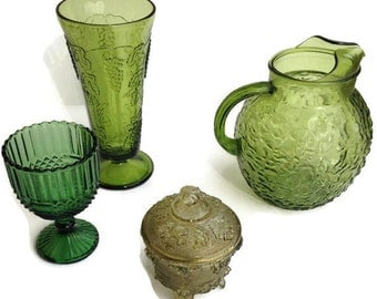 Vintage Green Pressed Glass