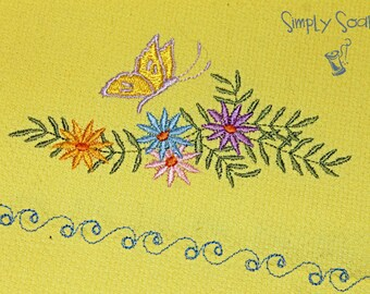Spring Embroidered Towel - Flowers and Butterfly