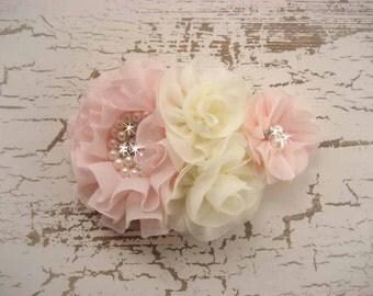 Blush Flower Girl Headband, Hair Clip, Matching to Flower Girl Basket Corsage Hand Dyed Blush flowers
