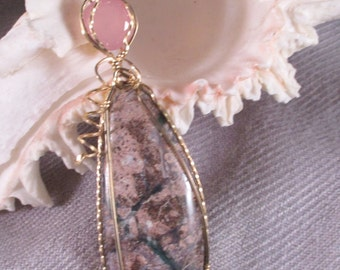 Viper Jasper and 3.5ct. Faceted  Rose Quartz Gold Pendant