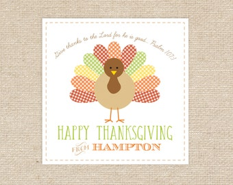 Digital Turkey Thanksgiving Gift Tag