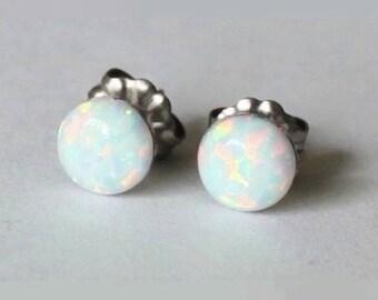 8 mm Fire Opal Stud earrings, Titanium earrings, opal earrings, hypoallergenic Titanium opal post studs, Bridesmaid earrings, sensitive ears