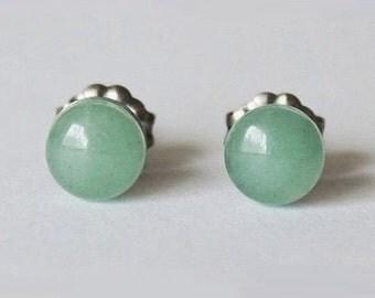 8mm Green Aventurine Studs, hypoallergenic Titanium earring, Cabochon Gemstone post studs,for sensitive ears
