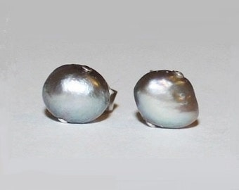 Titanium Pearl Earrings, 6-7mm Genuine Baroque silver gray nugget fresh water pearl studs, hypoallergenic Titanium post earrings
