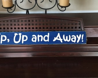Up Up and Away Sign Plaque Room Decor Space Airplane Boys Wooden U Pick Color