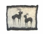 Felted mat with historical deer picture , chair cover, wool pet bed