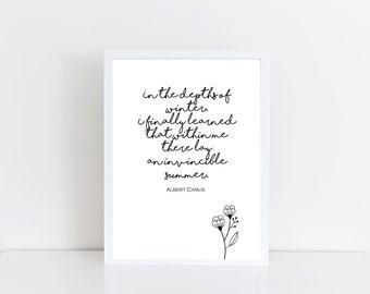 In the Depths of Winter Albert Camus digital print printable quote inner strength power survivor empowerment belief self confidence summer