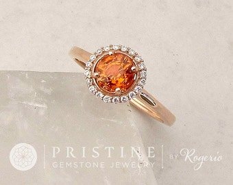 Orange Sapphire Ring Rose Gold Engagement Ring Diamond Halo Gemstone Ring Wedding Anniversary September Birthstone