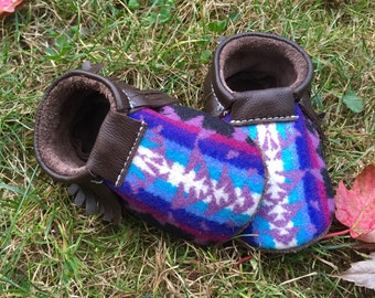 SALE // Scout Baby Moccasin 12-18 month // Lavender Pendleton Wool Brown Leather // Rosebud Originals