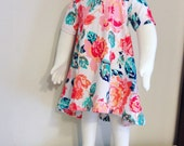 Floral Mommy and Me 9 to 12 month Rose Tiered Cotton Knit Dress