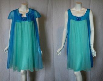 1960s Vanity Fair Blue Green Peignoir Set, Medium, Large Nightgown Robe