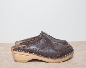 7 | Vintage Bastad Leather Clogs Swedish Bohemian Outlay Clogs