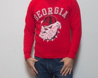 SML | Vintage Georgia Bull Dogs Red Crewneck Sweatshirt