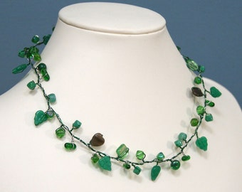 Summer Emerald Forest Green Beaded Branch Necklace