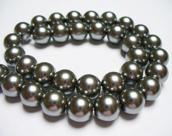 Glass Pearl Charcoal Gray 8MM