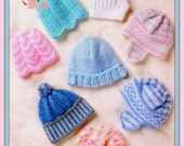 PDF Knitting Pattern for 8 Designs of Babies Hats, Helmets & Bonnets - Instant Download