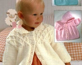 PDF Knitting Pattern for a Baby Girls Aran Smocked Jacket -Instant Download