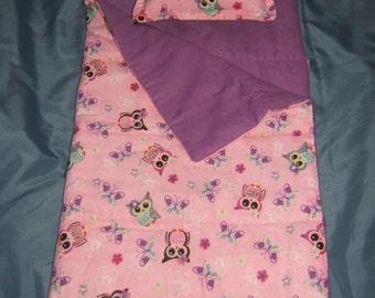 Owl Flannel Sleeping Bag for 18 inch Doll