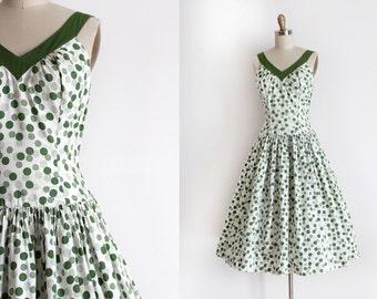 vintage 1950s dress // 50s green cotton polka dot dress