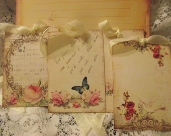 Gift Tags Shabby Chic Adorned With Seam Binding Ribbon