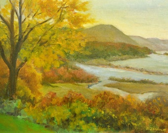Hudson River Art Print, Hudson River Landscape Print, Oil Landscape Art, Home Decor Wall Art from Original Painting by P. Tarlow