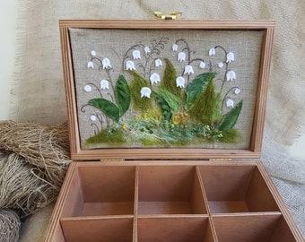 Tea box, Wood tea box, Lilies of the valley, Tea bag holder, Tea holder, Rustic decor, Kitchen organizer, Decorative box, gift for mother.
