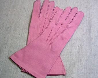 Bright Pink Cotton Gloves, 6.5 Size, Vintage