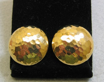 Gold Hammered Brass Button Clip On Earrings
