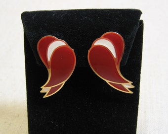 Vintage Over the Top  Red White and Gold Enamel Clip On Earrings