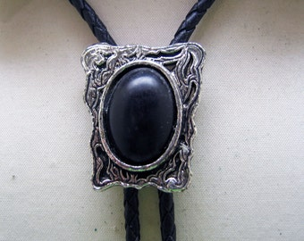 Vintage Fancy Black Lucite in Antiqued Silver Bolo Tie