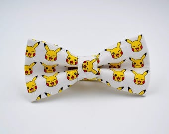 Adult Pikachu Bow Tie in White, Inspired by Pokemon, Pre-Tied Adjustable Bow Tie