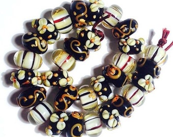 15 pieces rondelle lampwork glass beads 13mm 3 patterns