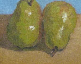 Pears Original Oil Painting Kitchen Still Life Gift Modern Impressionist Plein Air Alla Prima Santa Barbara Jennifer Boswell 6x6 Inch Canvas