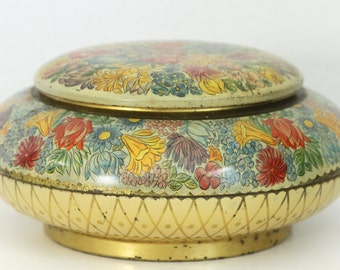 SALE Biscuit Tin West Germany - Round Metal Box in Gold Yellow Blue Orange Red Purple - Decorative Floral Tin - Cookie Tin