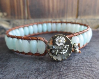 Sky blue leather bracelet - Bouquet - antique button pale blue semi precious stone eco chic boho by slashKnots