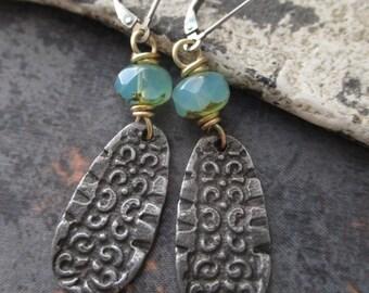Rustic tribal earrings - Lagoon - dainty blue green glass sterling silver artisan dangle earrings boho by slashKnots