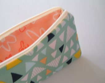 Triangles on Meadow Green Pencil Pouch - Stocking Stuffer - Gift Under 15