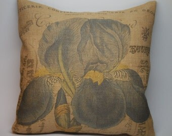 French Iris Burlap Pillow,  Shabby Chic,  INSERT INCLUDED