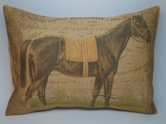 Shabby Chic Burlap Pillows : French Horse Burlap Pillow Shabby Chic by PolkadotApplePillows