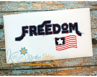 Freedom Text Distressed Applique