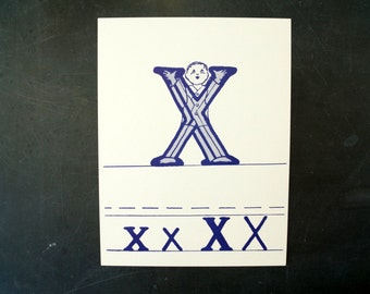"Vintage Letter X Flashcard / Phonics Card, 7"" tall (c.1958) - Collectible, Altered Art Ephemera, Home Decor, and more"