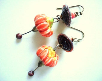 Petite, Bird Earrings, Rustic Earrings, Funky, Primitive, Brown Chocolate Orange, Ceramic, Artisan lampwork,