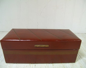 Mid Century Brown Leatherette Rectangular Jewelry / Cash Box - Vintage Mens Valet Case with Removable Interior Separators & Gold Tooled Trim