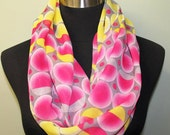 Bright Geometric Pink and Yellow Circle Pattern Infinity Scarf