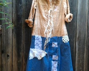 CUSTOM example made to order hand dyed funky shabby latte denim fairy mocha vintage lace boho style gypsy  romantic rustic dress tunic