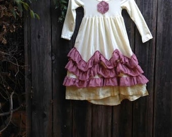 CUSTOM example gypsy summer soft rustic toddler yellow ruffles rose Birthday Celebration gypsy boho toddler country dress