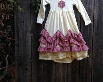 CUSTOM example gypsy summer soft rustic toddler yellow ruffles rose Birthday Celebration gypsy boho toddler country dress