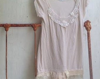 delicate embroidered romantic kimchi blue funky summer soft latte boutique boho vintage lace rustic soft cottage gypsy top